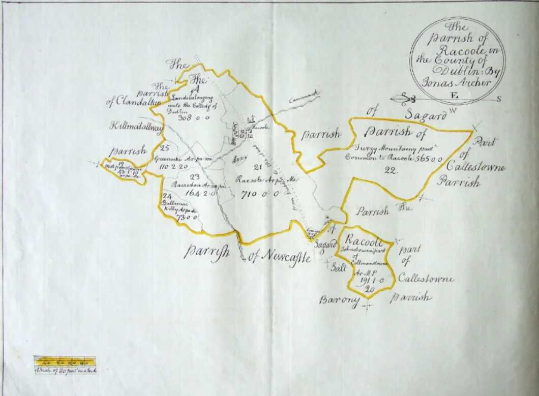 Early Map of Rathcoole – Down Survey c. 1654